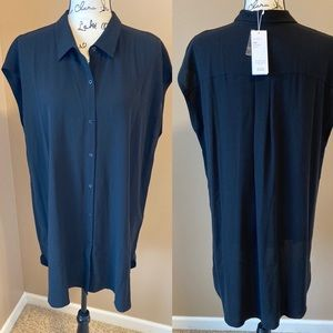 Eileen Fisher Georgette Crepe Blouse - size large